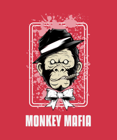 T-Shirt Design Maker Featuring a Street-Art Style Mafia Monkey 44l-el