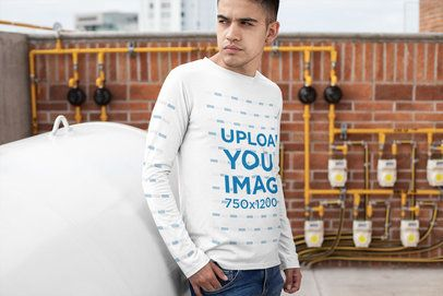 Long Sleeve Tee Mockup Featuring a Serious Looking Man 30882