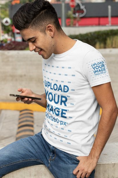 Mockup of a Young Man Wearing a T-Shirt with a Customizable Sleeve 30873