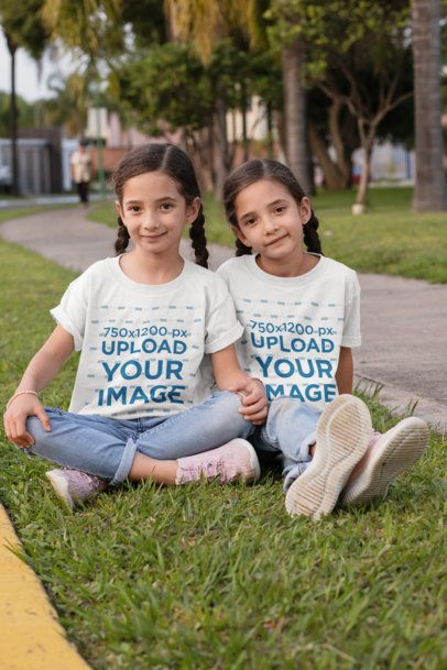 T-Shirt Mockup Featuring Twin Sisters at the Park 30708