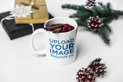 Coffee Mug Mockup Featuring a Warm Drink in a Christmas Setting 2086-el1