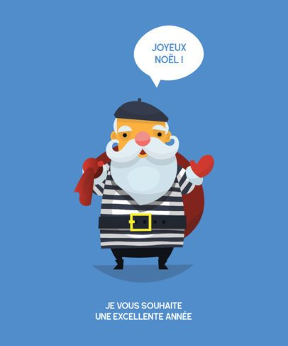 T-Shirt Design Template Featuring a French Santa 173c-el