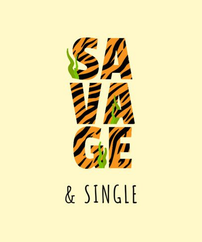 T-Shirt Design Template with a Savage Text in Tiger Texture 2077a