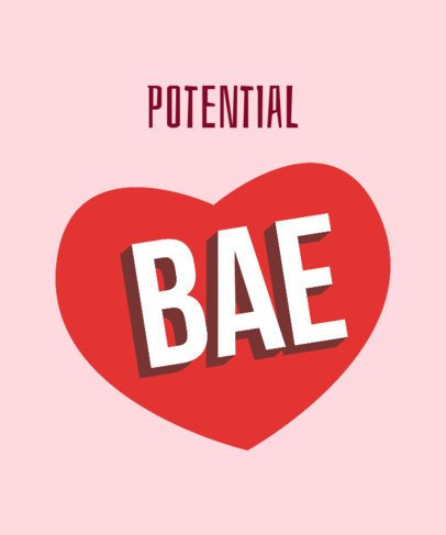 Bae T-Shirt Design Template with a Big Heart Graphic 2077b