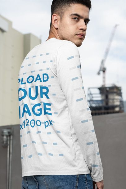 Back View Mockup of a Serious Man Wearing a Long Sleeve Tee 30883