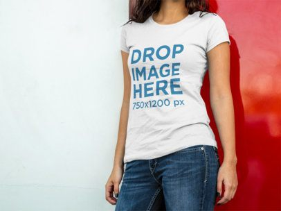 Tshirt Mockup of a Pretty Lady Leaning on a Red Door a8402