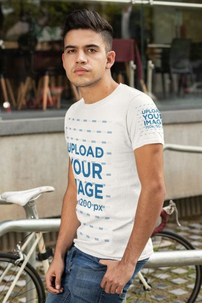 T-Shirt Sleeve Mockup of a Man Leaning on a Bike Rack 30874