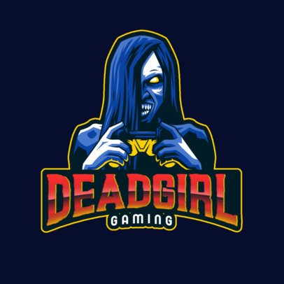 Spooky Logo Maker with a Female Zombie Gamer Character 2786p