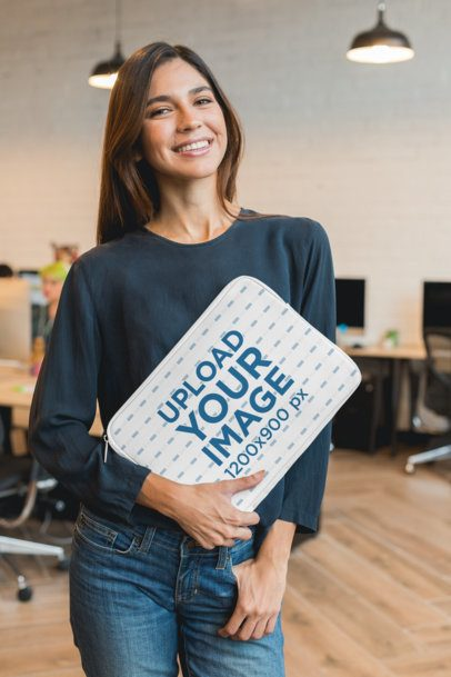Sublimated Laptop Sleeve Mockup Featuring a Smiling Woman 30850
