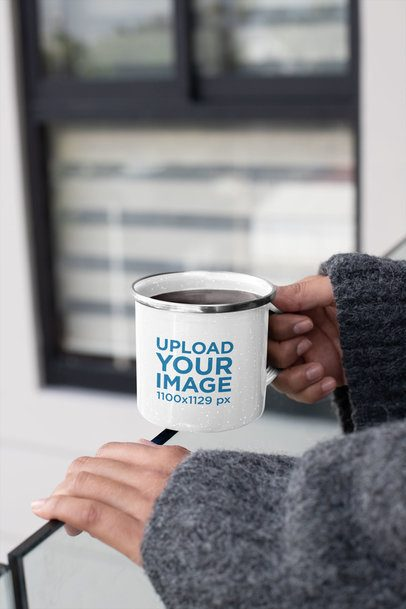 12 oz Enamel Mug with Silver Rim Mockup Featuring a Woman in a Balcony 30840