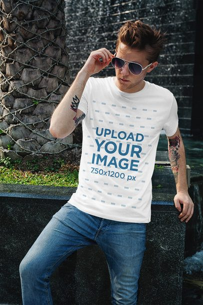 Mockup of a Stylish Man with Tattoos Wearing a T-Shirt 2192-el1