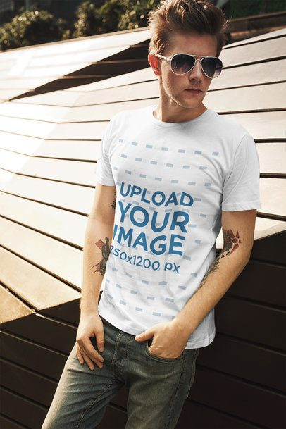 Tee Mockup of a Tattooed Man with Sunglasses 2194-el1