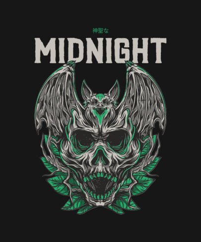 T-Shirt Design Creator Featuring an Amazing Illustration of a Skull 36b-el1