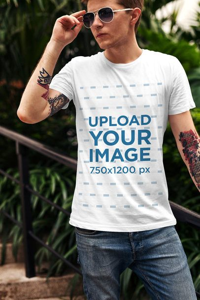 T-Shirt Mockup Featuring a Stylish Man with Tattoos 2197-el1