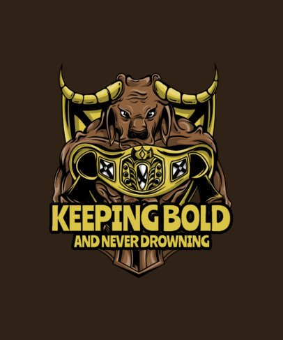 WWE T-Shirt Design Template Featuring an Angry Buffalo Illustration 38k-el1