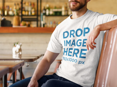 Tshirt Mockup Featuring a Young Man at a Diner 8588s