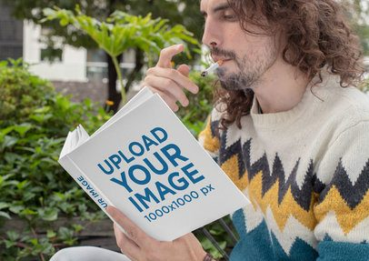 Square Book Mockup Featuring a Man Smoking a Cigarette 30918