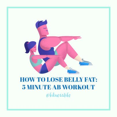 Facebook Post Maker Featuring an Exercising Couple Illustration 2026e 2083