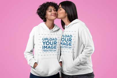 Pullover Hoodie Mockup Featuring a Woman Kissing Her Girlfriend 30412
