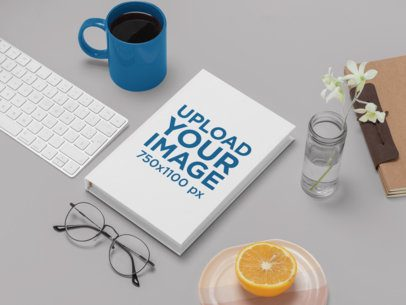 Hardcover Book Mockup Featuring a Stylish Setup 30927