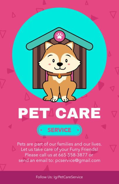 Online Flyer Template for a Pet Care Service with a Dog Illustration 396f-2123