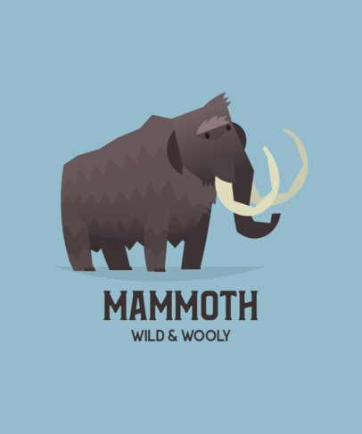 Animal T-Shirt Design Maker Featuring a Wooly Mammoth 197d-el1