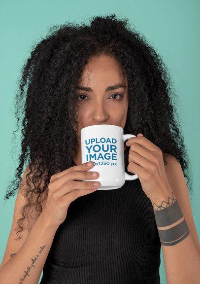 Mockup of a Tattooed Woman Drinking from a 15 oz Mug 30823