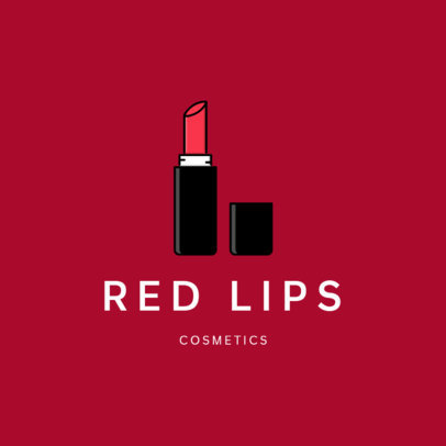 Simple Logo Template for Cosmetic Brands Featuring a Lipstick Clipart 336a-el1