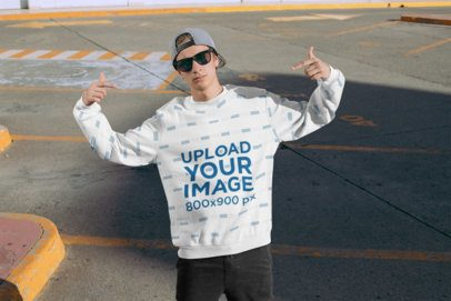 Mockup of a Man with a Crewneck Sweatshirt Posing at an Empty Parking Lot 31126