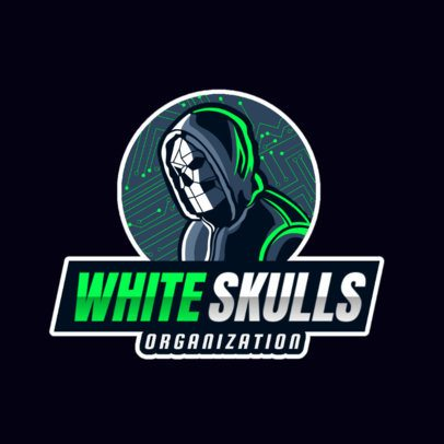 Logo Creator with a Skull-Masked Hacker for Gamers 2815c