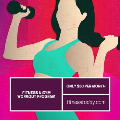 Instagram Post Template Featuring the Illustration of a Fit Woman 2081d
