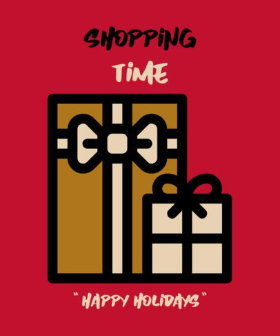 T-Shirt Design Template Featuring Christmas Gifts 308a-el1