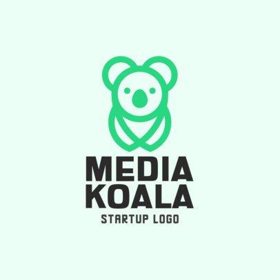 Startup Logo Template Featuring a Koala Clipart 330a-el1