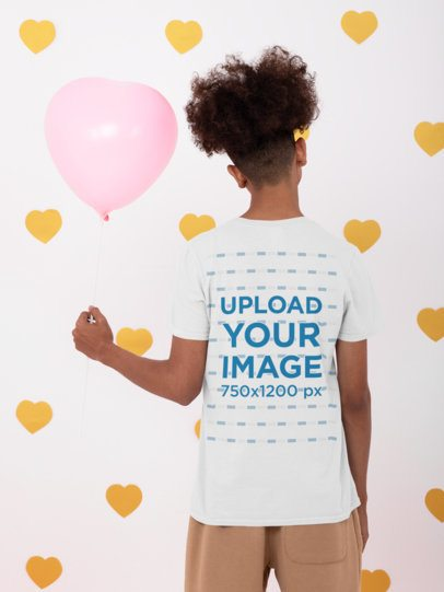 Back View T-Shirt Mockup of a Man in a Valentine's Day Setting 31227