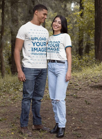 T-Shirt Mockup of a Happy Couple in the Woods 30527