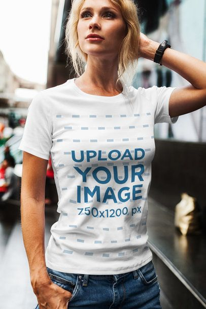 Mockup of a Woman Posing with a T-Shirt in the City 2234-el1