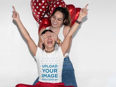 T-Shirt Mockup Featuring a Joyful LGBT Couple and Heart-Shaped Balloons 31239
