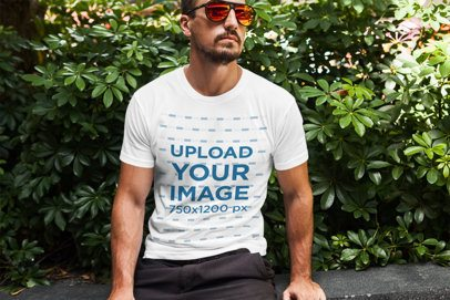 T-Shirt Mockup of a Cool Man Wearing Sunglasses 2249-el1