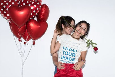 T-Shirt Mockup Featuring an LGBT Couple Posing by Some Heart-Shaped Balloons 31238