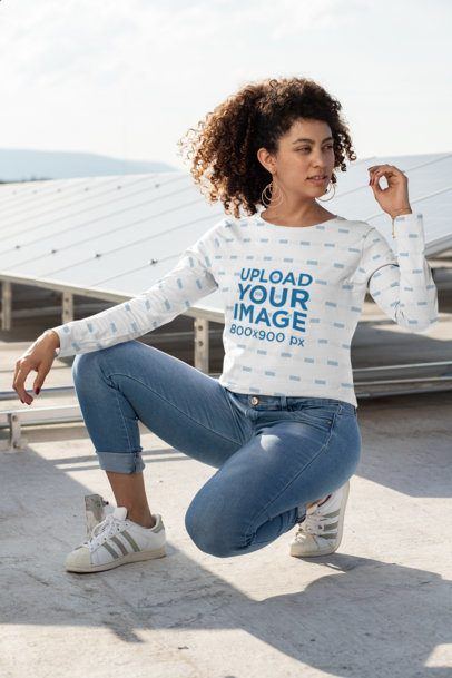 Long Sleeve Tee Mockup Featuring a Woman with Curly Hair 31152