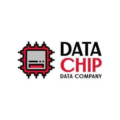 Data Company Logo Creator with a Computer Chip Icon 388b-el1