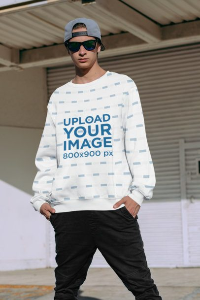 Mockup of a Cool Man Wearing a Sublimated Sweatshirt 31123