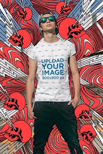 Sublimated T-Shirt Mockup of a Serious Man Posing 31105