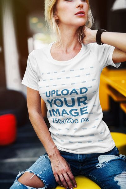 T-Shirt Mockup of a Fabulous Woman with Blonde Hair 2238-el1