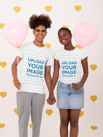 Mockup of a Couple Wearing T-Shirt in a Valentine's Day Setting 31216