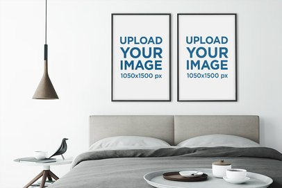 Mockup of Two Art Prints Hanging in a Modern and Minimalistic Bedroom 1971-el1