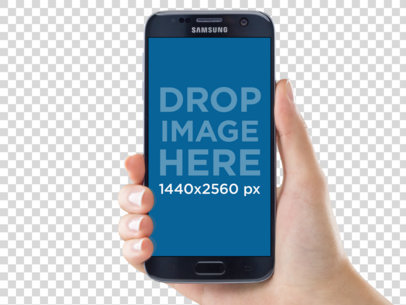 Samsung Galaxy S7 Mockup Being Held in a Portrait Position a11628