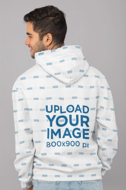 Back View Mockup of a Man Wearing a Sublimated Hoodie in a Studio 31271