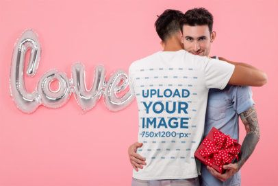 T-Shirt Mockup Featuring a Couple Hugging at a Romantic Atmosphere 31207
