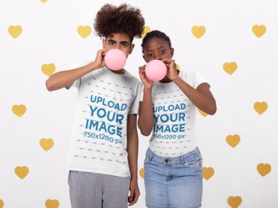 T-Shirt Mockup of Two Friends Inflating Balloons 31218